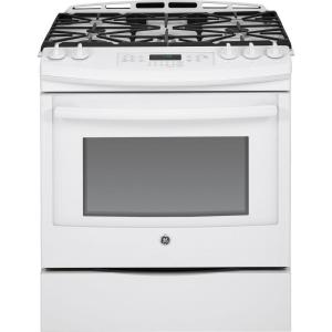 Click here to buy GE 5.6 cu. ft. Slide-In Gas Range with Self-Cleaning Convection Oven in White by GE.