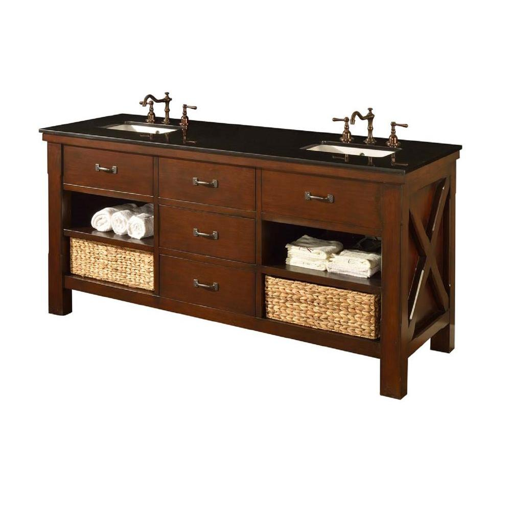Xtraordinary Spa 70 in. Double Vanity in Dark Brown with Granite