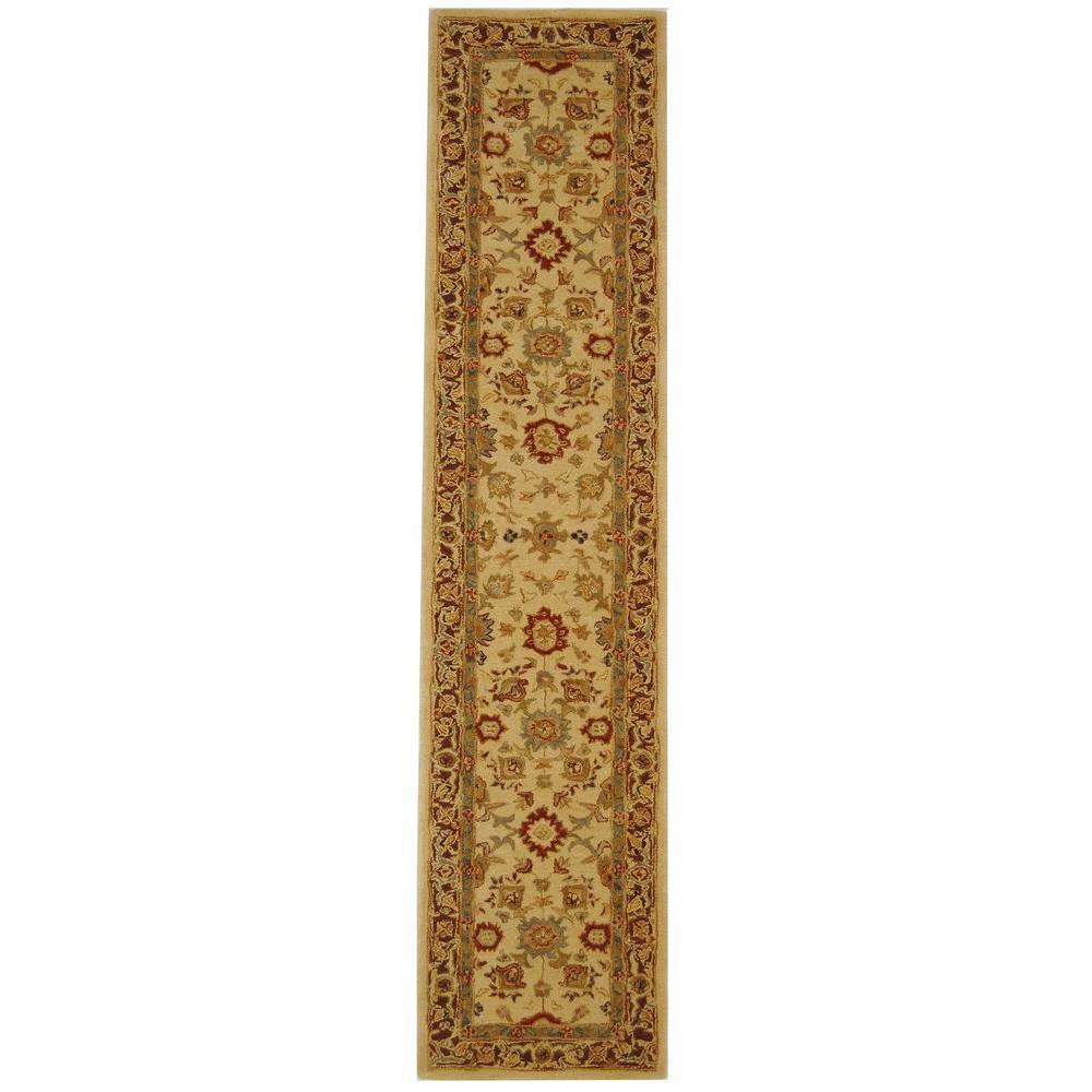 Anatolia Ivory/Brown 2 ft. x 12 ft. Runner Rug