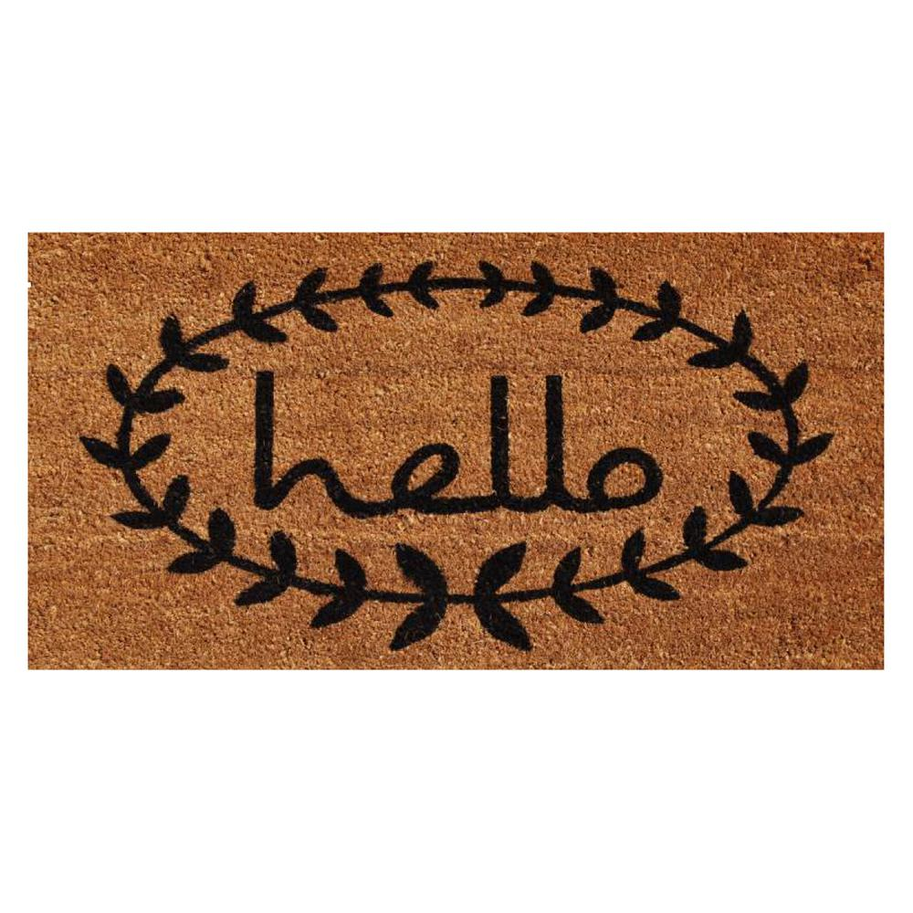 Bathroom Rugs 36 X 72: Home & More Calico Hello 36 In. X 72 In. Door Mat