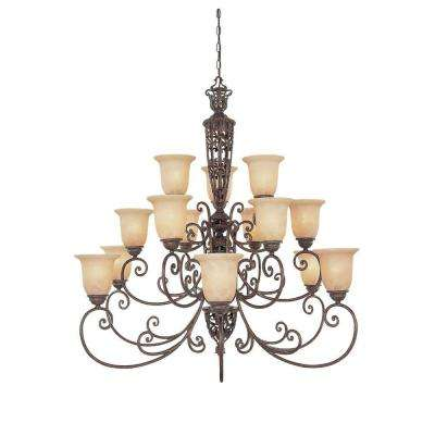 Amherst 15-Light Burnt Umber Interior Incandescent Chandelier