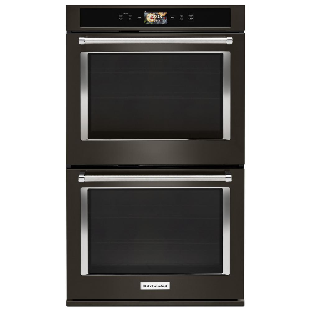 KitchenAid 30 in. Double Electric Smart Wall Oven with Powered Attachments in PRINTSHIELD Black Stainless