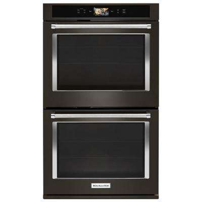 30 in. Double Electric Smart Wall Oven with Powered Attachments in PRINTSHIELD Black Stainless