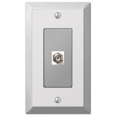 Metallic 1 Gang Coax Steel Wall Plate - Polished Chrome