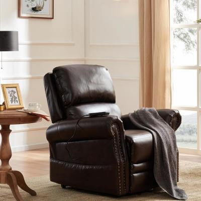 Dark Brown Heavy Duty PU Leather Power Lift Recliner Chair