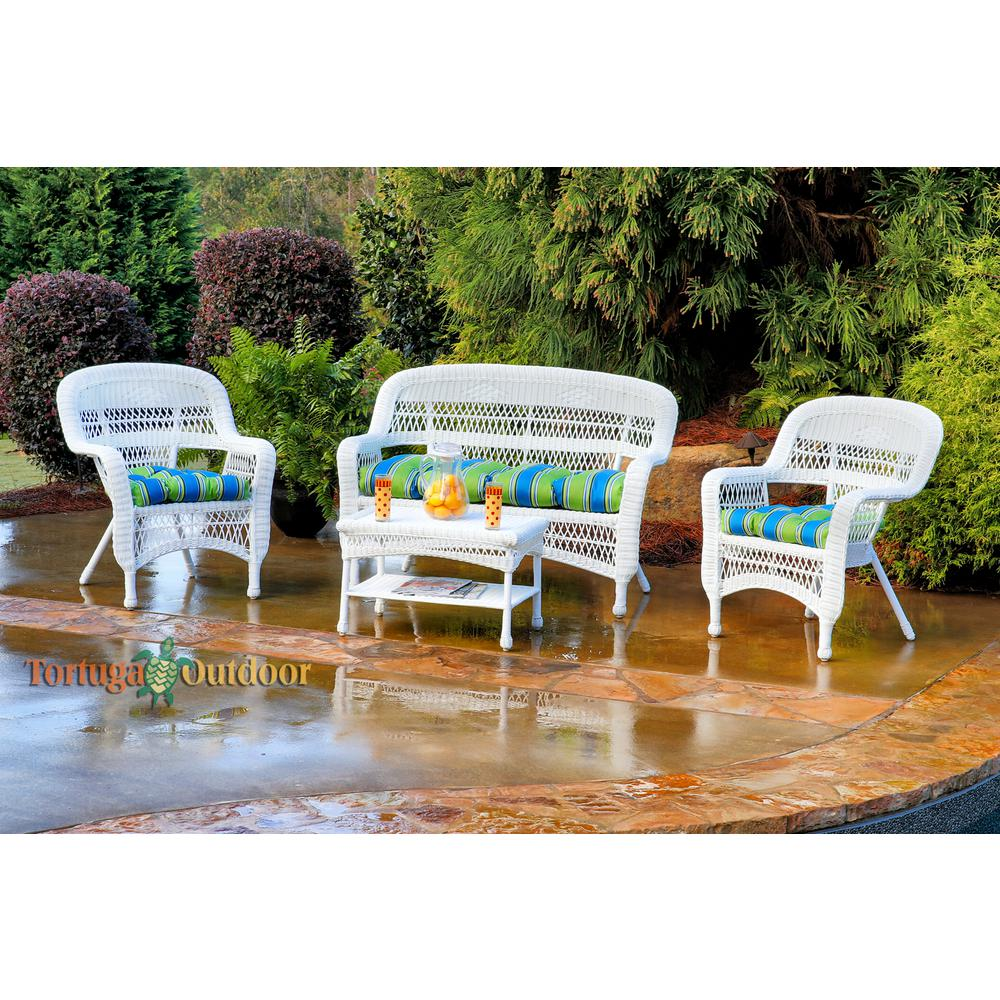 Tortuga Outdoor Portside White 4-Piece Wicker Patio Seating Set with Haliwell Caribbean Cushions