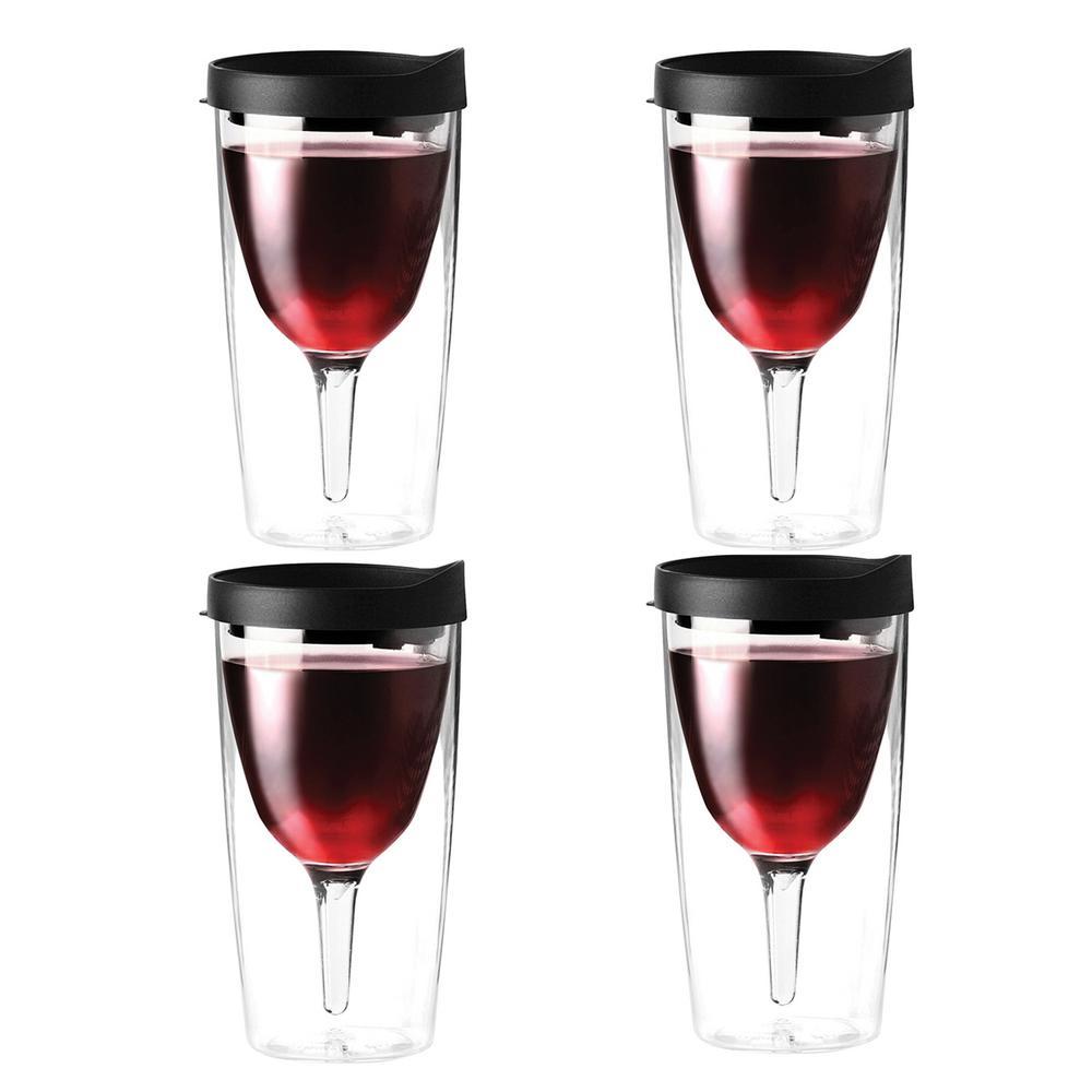 Vino2Go 10 oz. 4-Piece Black Wine Tumbler Set