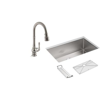 Strive All-in-One Undermount Stainless Steel 29 in. Single Bowl Kitchen Sink with Artifacts Faucet in Stainless Steel
