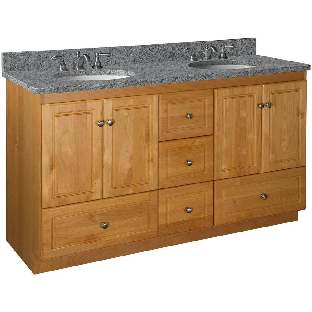 Simplicity by Strasser Ultraline 60 in. W x 21 in. D x 34.5 in. H Vanity for Double Basins Cabinet Only in Natural Alder