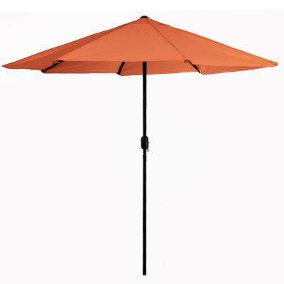 9 ft. Aluminum Patio Umbrella with Hand Crank in Terracotta
