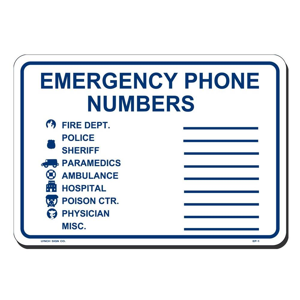 10 in. x 7 in. Emergency Phone Numbers Sign Printed on