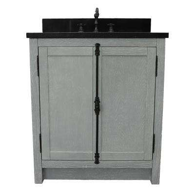 Plantation 31 in. W x 22 in. D Bath Vanity in Gray with Granite Vanity Top in Black with White Rectangle Basin
