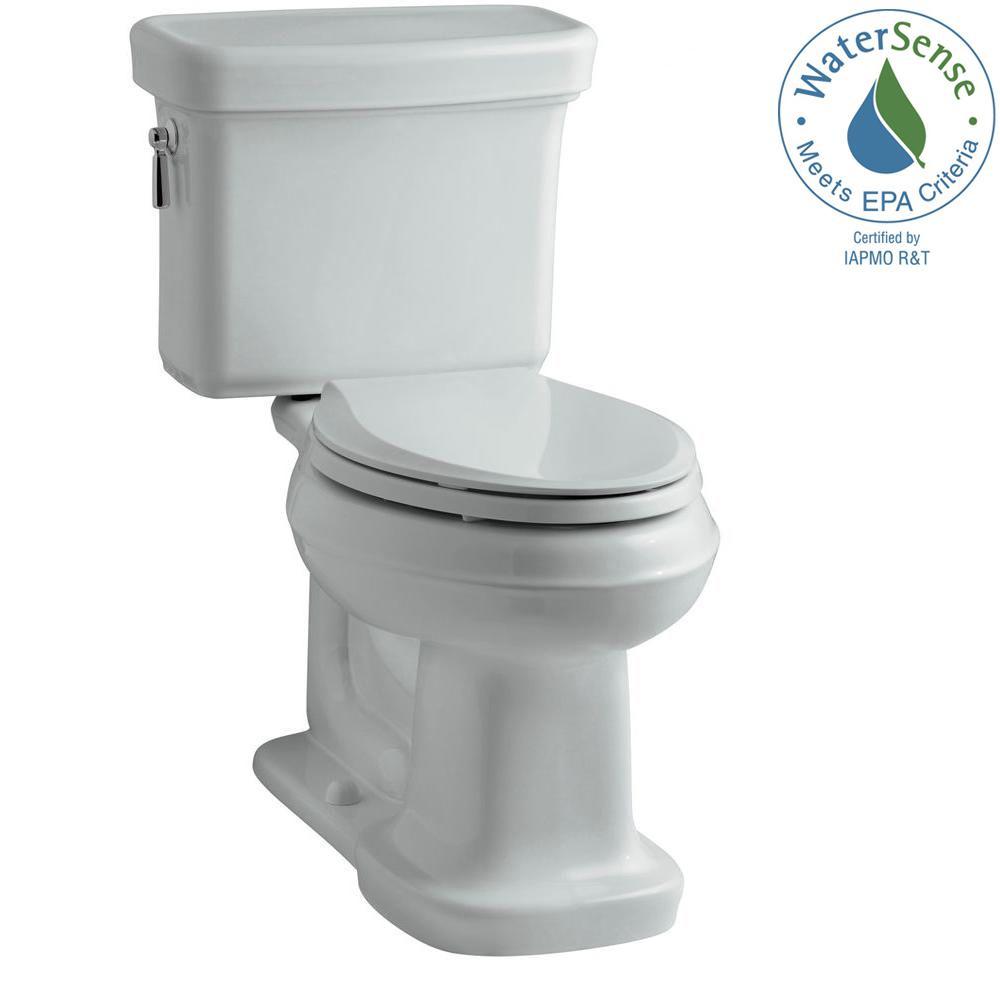 KOHLER Bancroft 2-Piece 1.28 GPF Single Flush Elongated Toilet with AquaPiston Flush Technology in Ice Grey