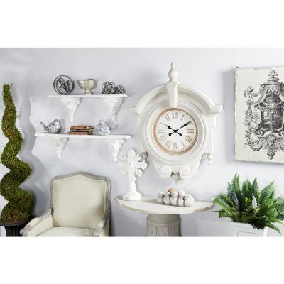 Large Antique Light Gray Wood Round Wall Clock with Arched Frame and Finials
