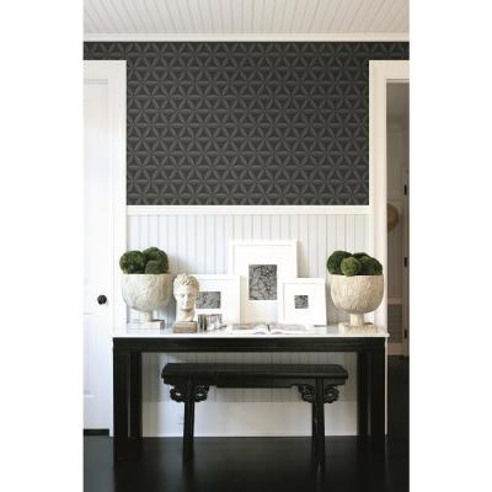 Lens Ebony and Charcoal Geometric Wallpaper