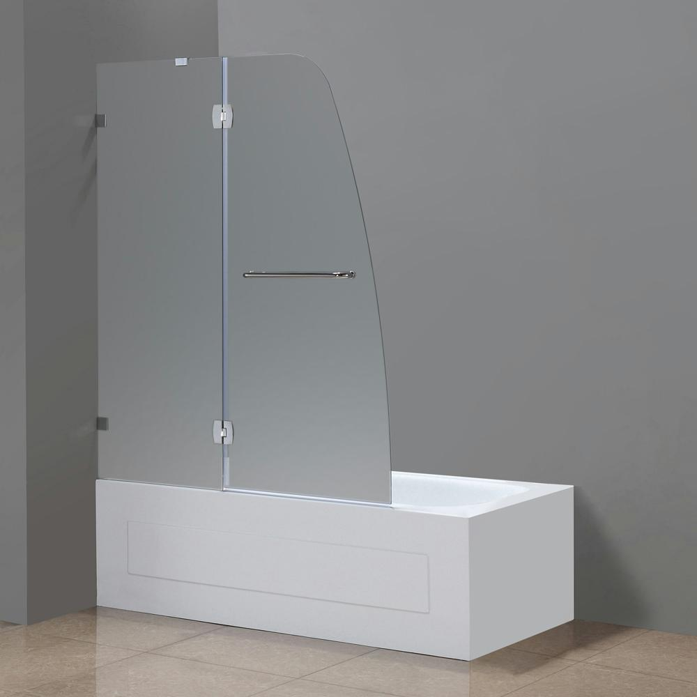 Completely Frameless Hinged Tub Door With Frosted