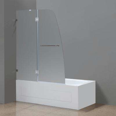 Soleil 48 in. x 58 in. Completely Frameless Hinged Tub Door with Frosted Glass in Chrome