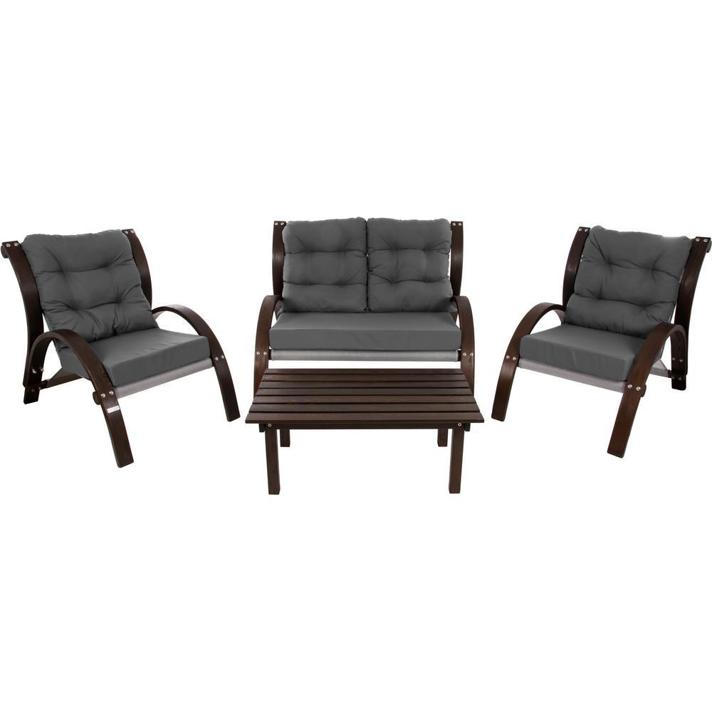 Kawartha Lakes 4-Piece Wood Patio Conversation Set with Dark Grey Cushions