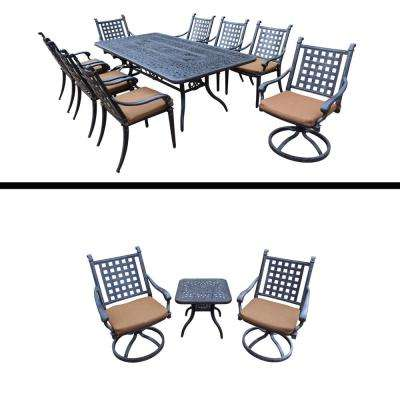 Superieur Belmont Premier 12 Piece Aluminum Outdoor Dining Set With Sunbrella Brown  Cushions