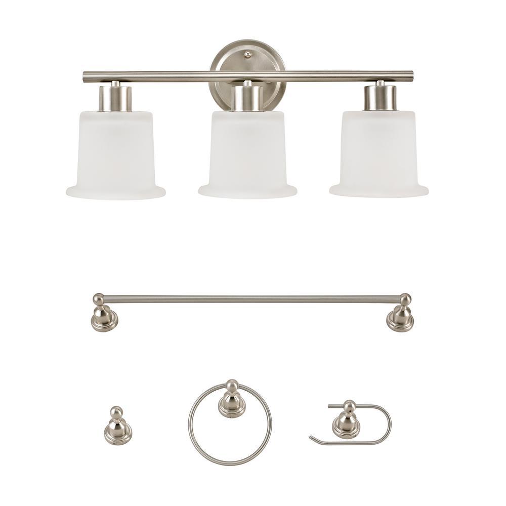Elbert Brushed Nickel Vanity Light All-In-One Bath Set (5-Piece)