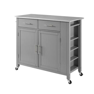 Savannah Gray Full-Size Kitchen Island with Stainless Steel Top