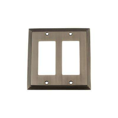 Deco Switch Plate with Double Rocker in Antique Pewter