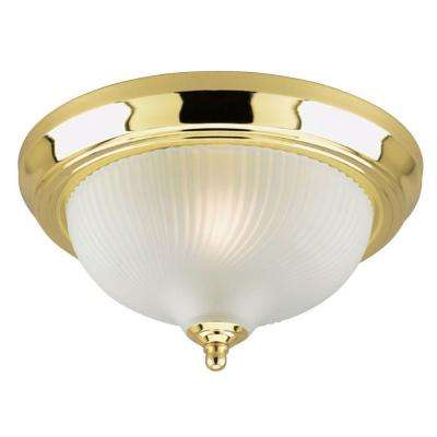 1-Light Ceiling Fixture Polished Brass Interior Flush-Mount with Frosted Swirl Glass