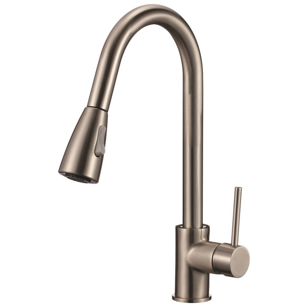 Single Handle Pull Down Sprayer Kitchen Faucet With Soap Dispenser In Brushed Nickel 70 201