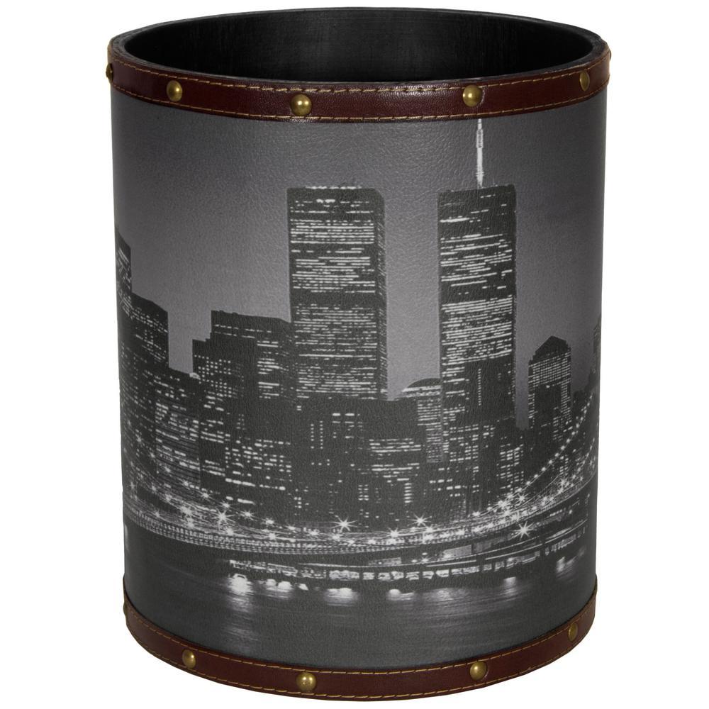 Oriental Furniture 8.25 in. x 10 in. Brooklyn Bridge Waste Basket