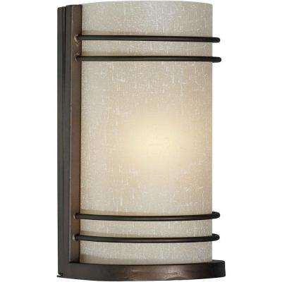 1-Light Antique Bronze Wall Sconce with Umber Linen Glass