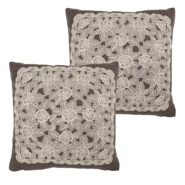 Gretta Charcoal Standard Pillow Cover (Set of 2)