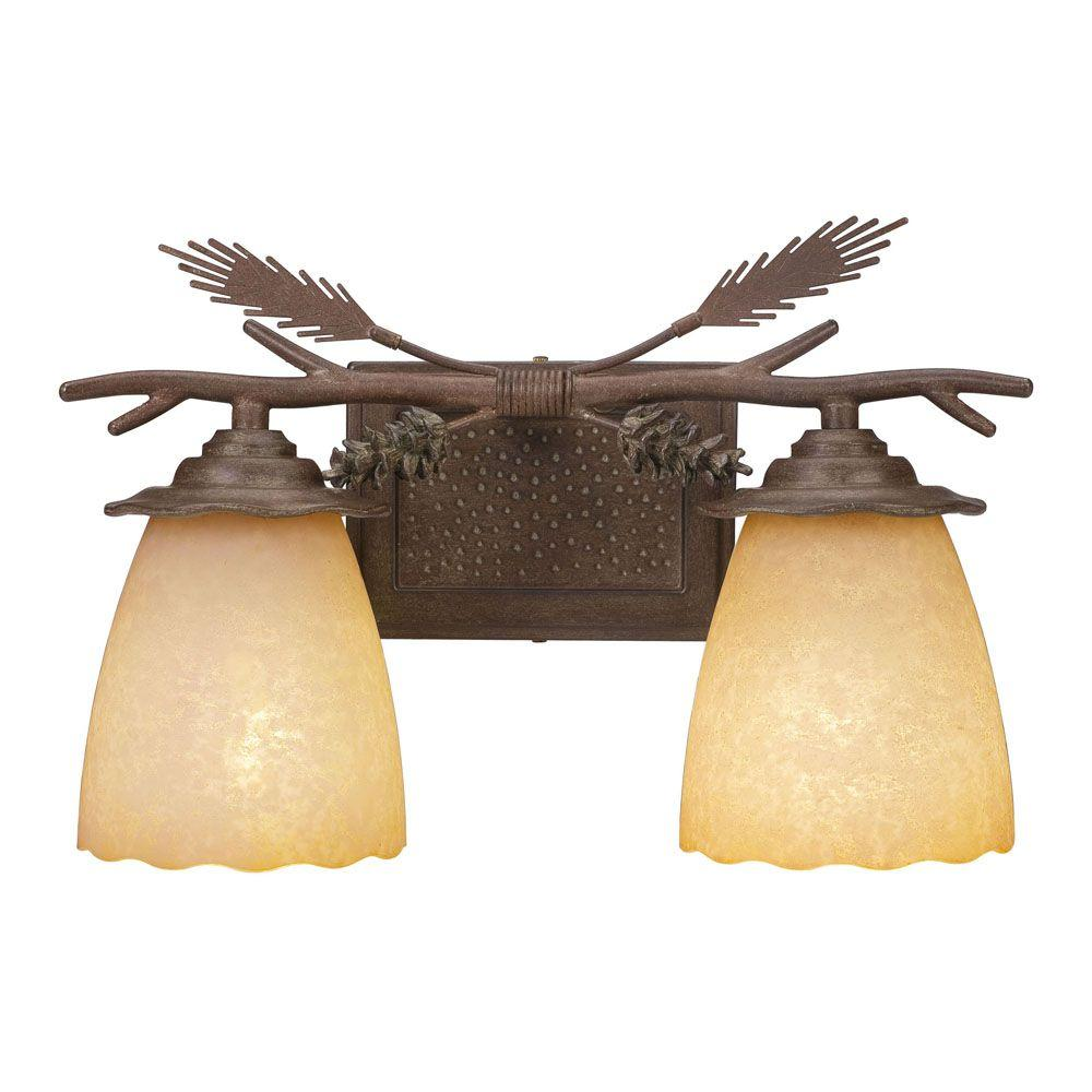 Hampton Bay Lodge 2-Light Weathered Spruce Vanity Light with Sunset Glass Shades
