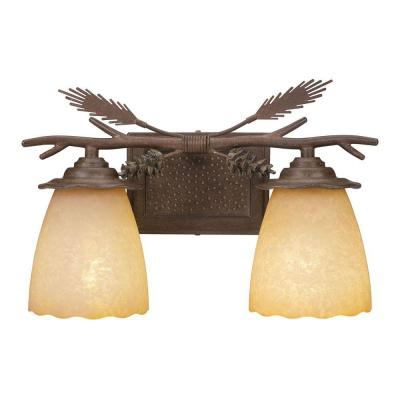 Lodge 2-Light Weathered Spruce Vanity Light with Sunset Glass Shades