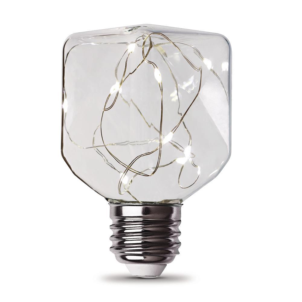 11-Watt Equivalent Soft White Square-Shape Fairy Light Clear Glass Light Bulb