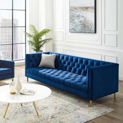 Delight Navy Tufted Button Performance Velvet Sofa