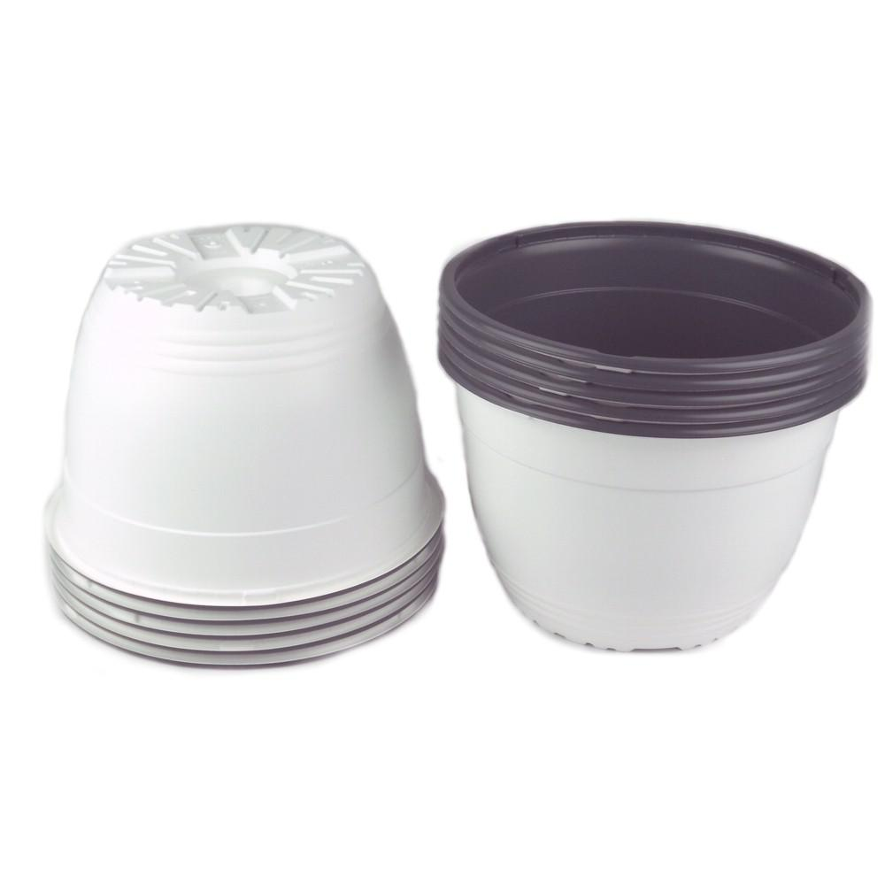 7.5 in. White Plastic Round Pot (Box of 10)