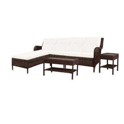 Cambridge 5-Piece Brown Wicker Outdoor Patio Sectional Sofa Seating Set with Bare Cushions