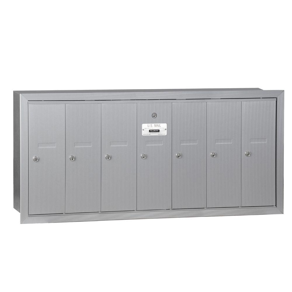 Aluminum Recessed-Mounted USPS Access Vertical Mailbox with 7 Door