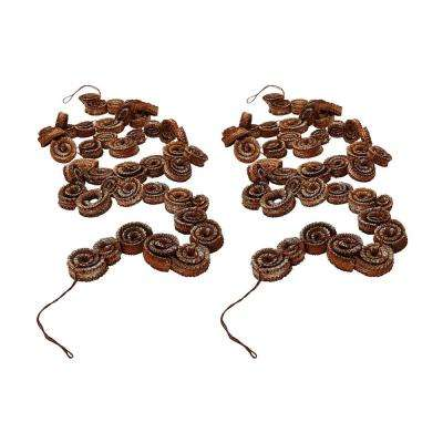 Brushed White Palm Rule Garland (2-Pack)