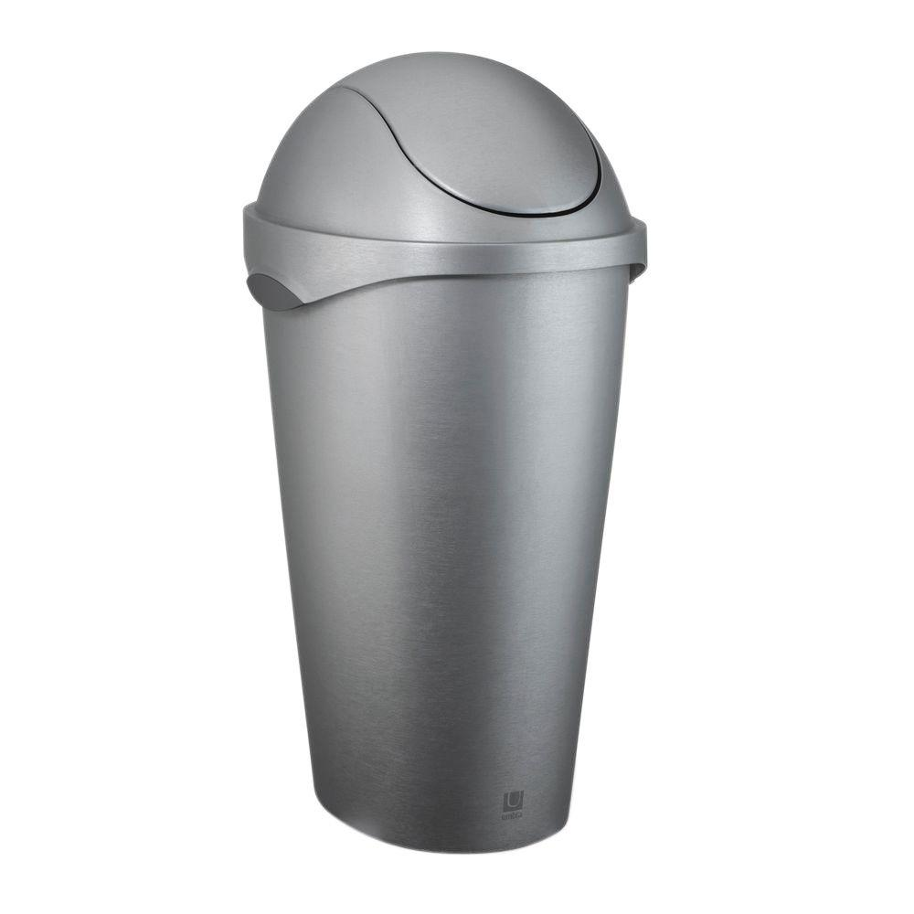 12 Gallon Plastic Trash Can With Swing Lid Waste Basket Kitchen Garbage Bin Gray