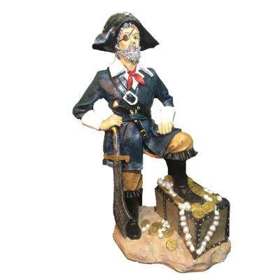32 in. Pirate with Treasure Chest and Sword Beach Collectible Statue