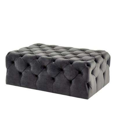 Ashley Gray Button Tufted Ottoman