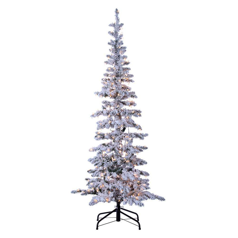 STERLING 6.5 ft. Indoor Pre-Lit Flocked Narrow Austin Pine ...