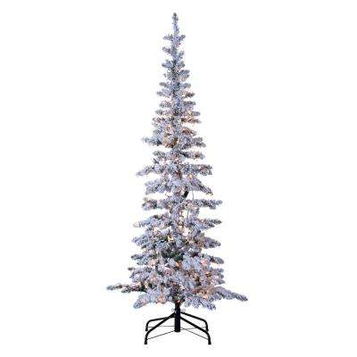 6.5 ft. Indoor Pre-Lit Flocked Narrow Austin Pine Artificial Christmas Tree with 300 Clear Lights