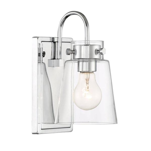 Inwood 1-Light Chrome Wall Sconce with Clear Glass Shade