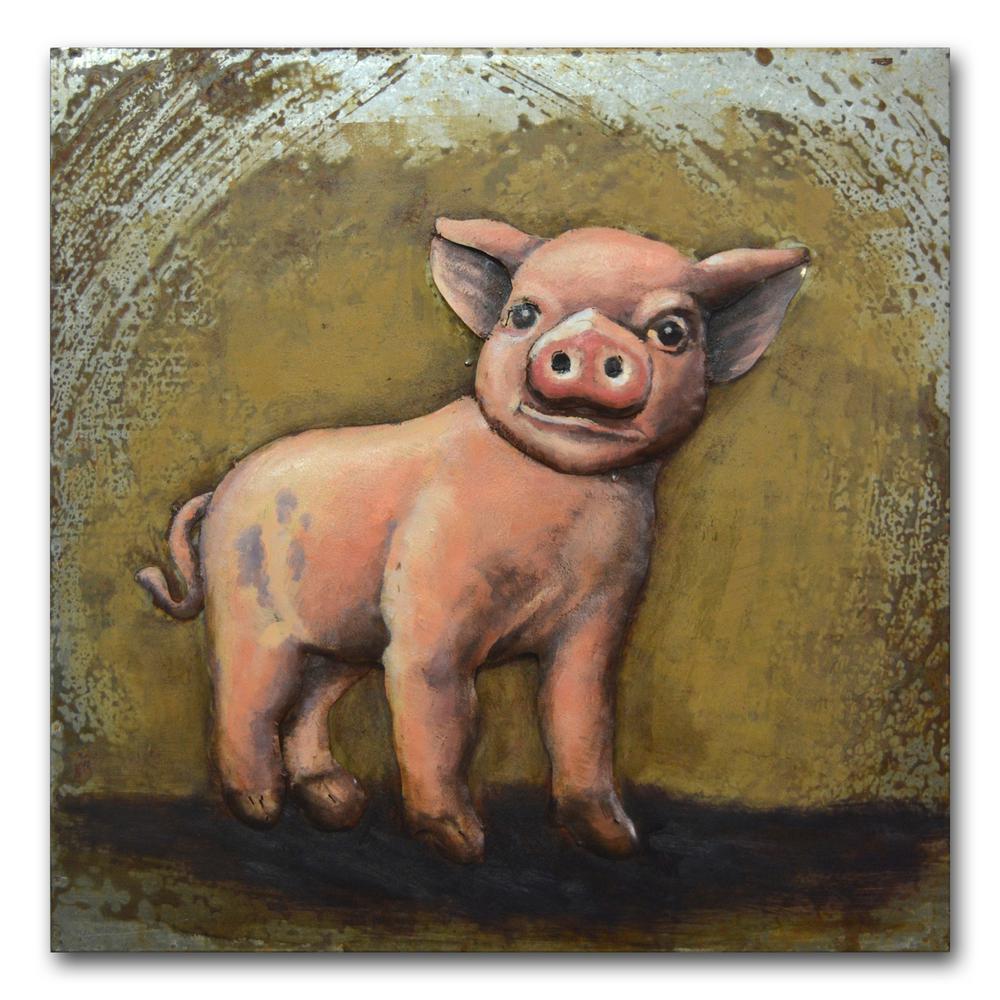 """24 in. x 24 in. """"Little Piggie"""" Metal Wall Art"""