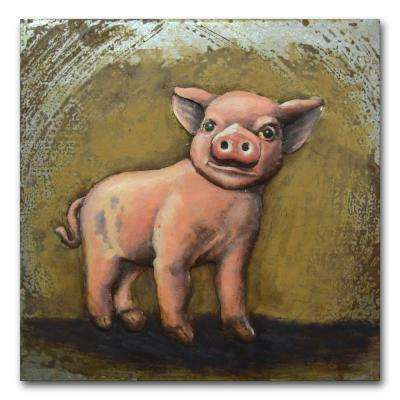 "24 in. x 24 in. ""Little Piggie"" Metal Wall Art"