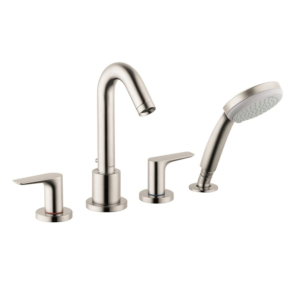 Logis 2-Handle Deck-Mount Roman Tub Faucet with Hand Shower in Brushed