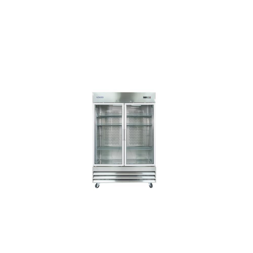 54 in. W 48 cu. ft. 2-Glass Door Reach-In Commercial Refrigerator