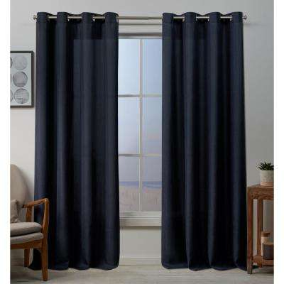 Baxter 54 in. W x 96 in. L Textured Grommet Top Curtain Panel in Peacoat Blue (2 Panels)